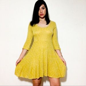 Dresses & Skirts - Mustard Polka Dot Knit Dress 💛 3D Textured Knit